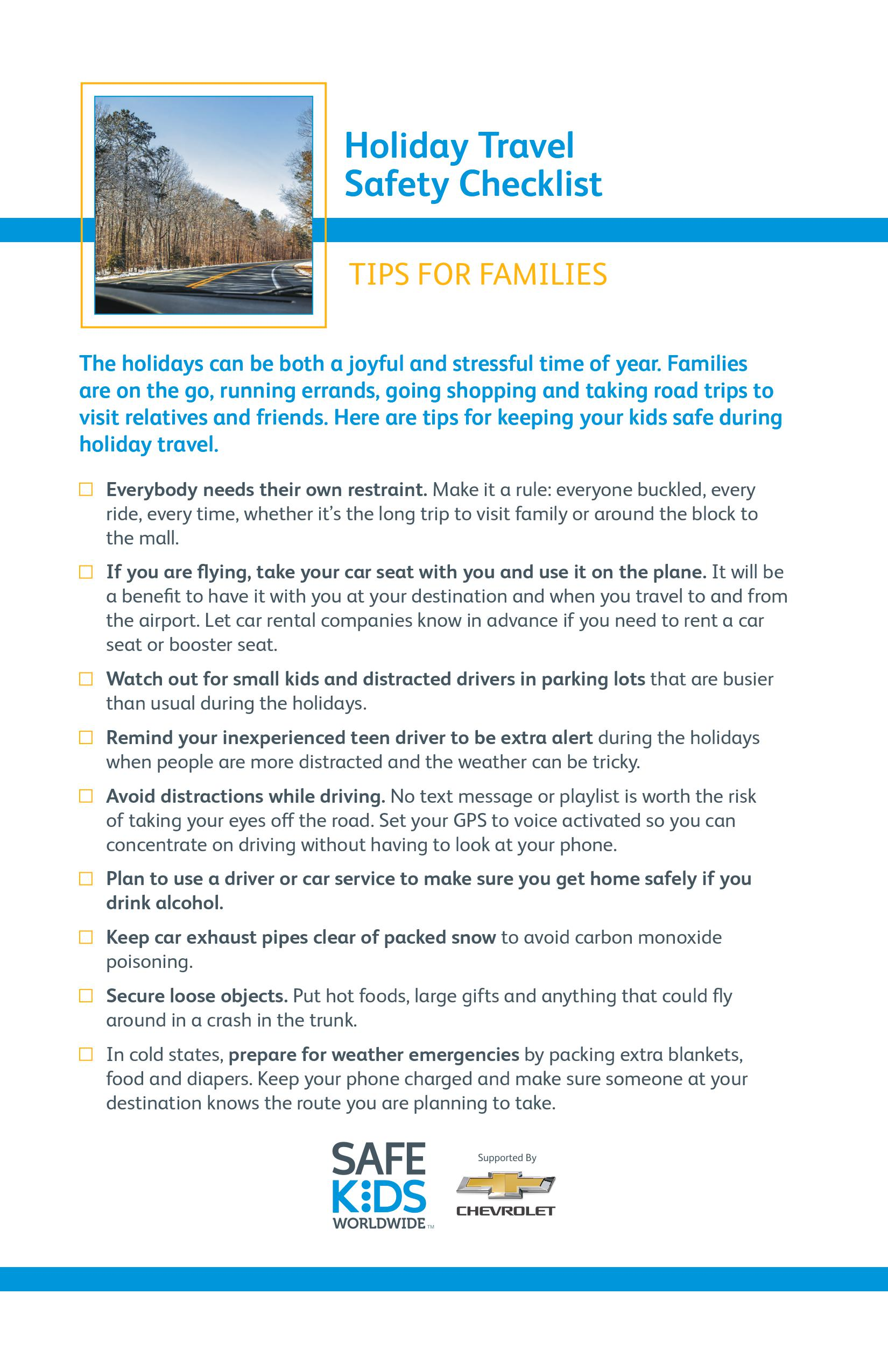 Holiday Travel Safety Checklist