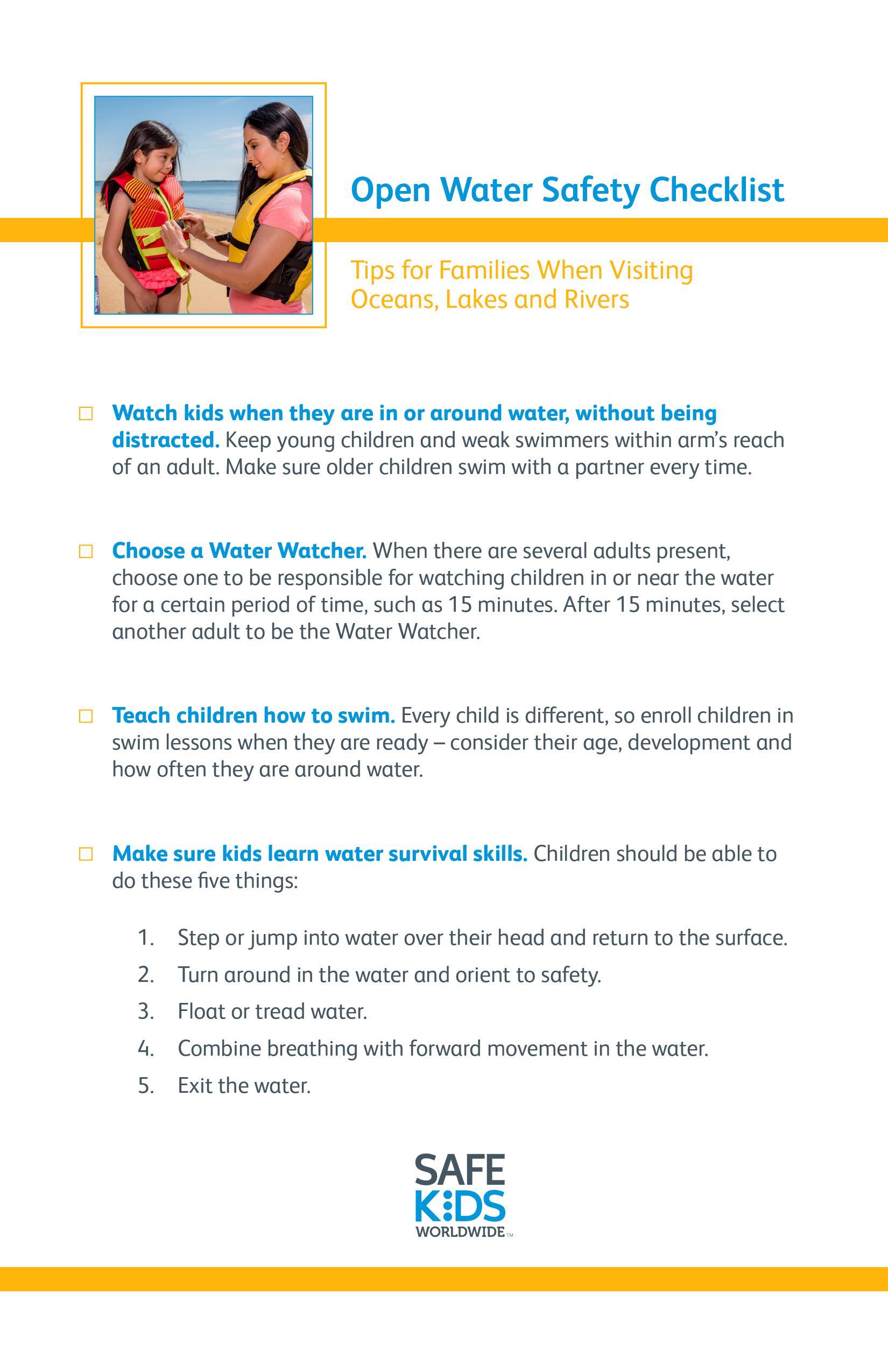 Open Water Safety Checklist