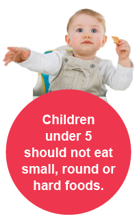 Children under 5 should not eat small, round of hard foods.