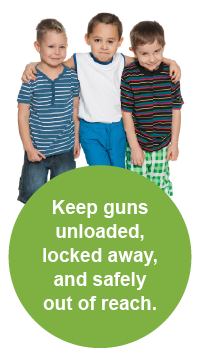 Keep guns unloaded, locked away, and safely out of reach.