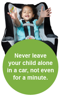 image of child in car seat with the warning to never leave your child alone in