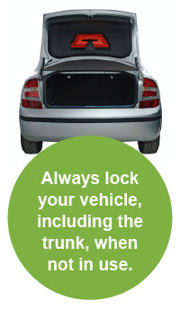 Always lock your vehicle, including the trunk, when not in use.