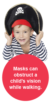 Masks can obstruct a child's vision while walking