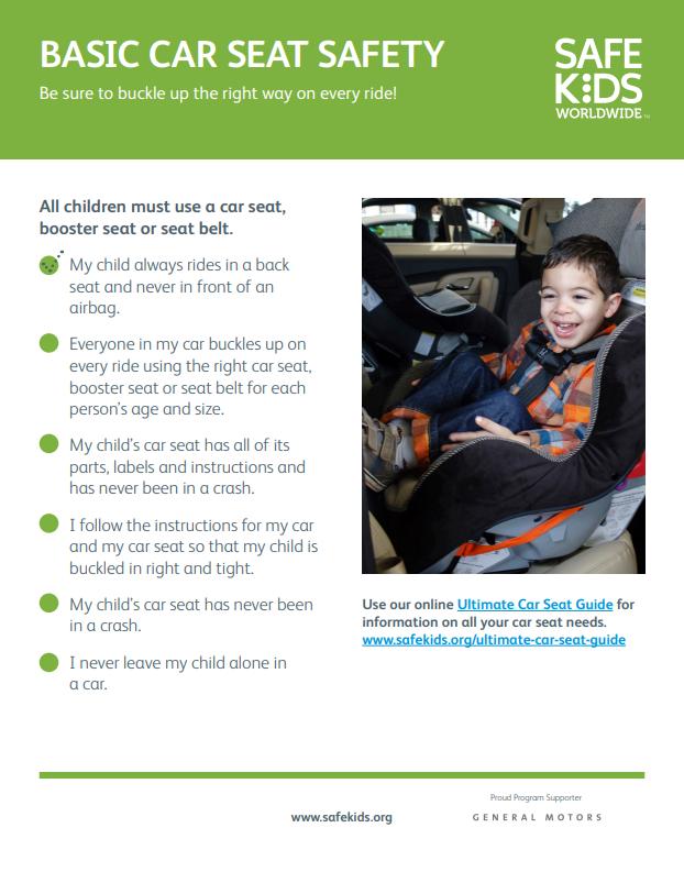 Basic Car Seat Safety Checklist | Safe Kids Worldwide