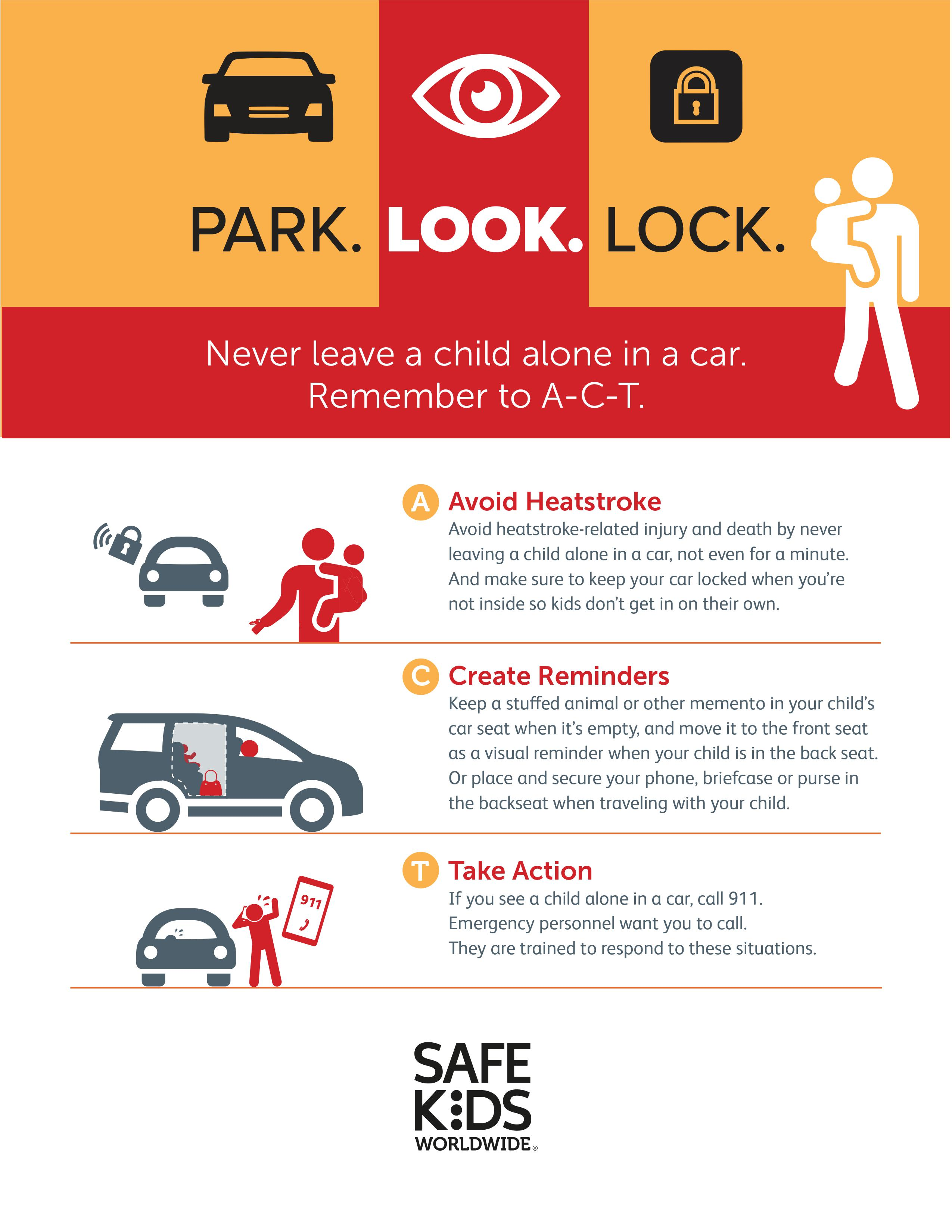 A heatstroke infographic illustrating tips on keeping kids safe from heatstroke in cars.