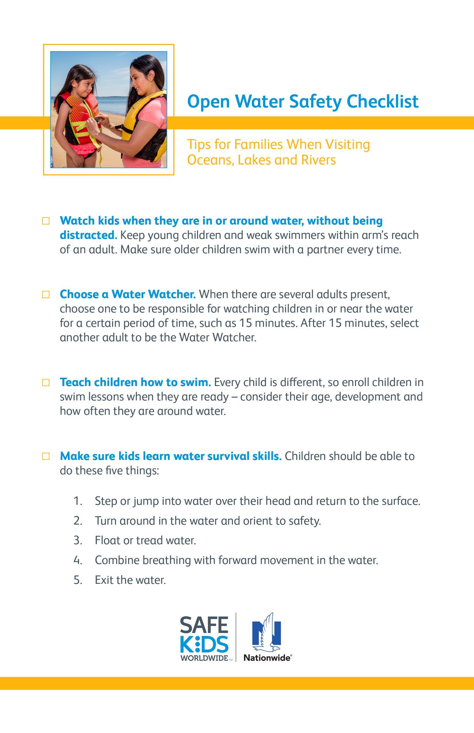 Open Water Checklist