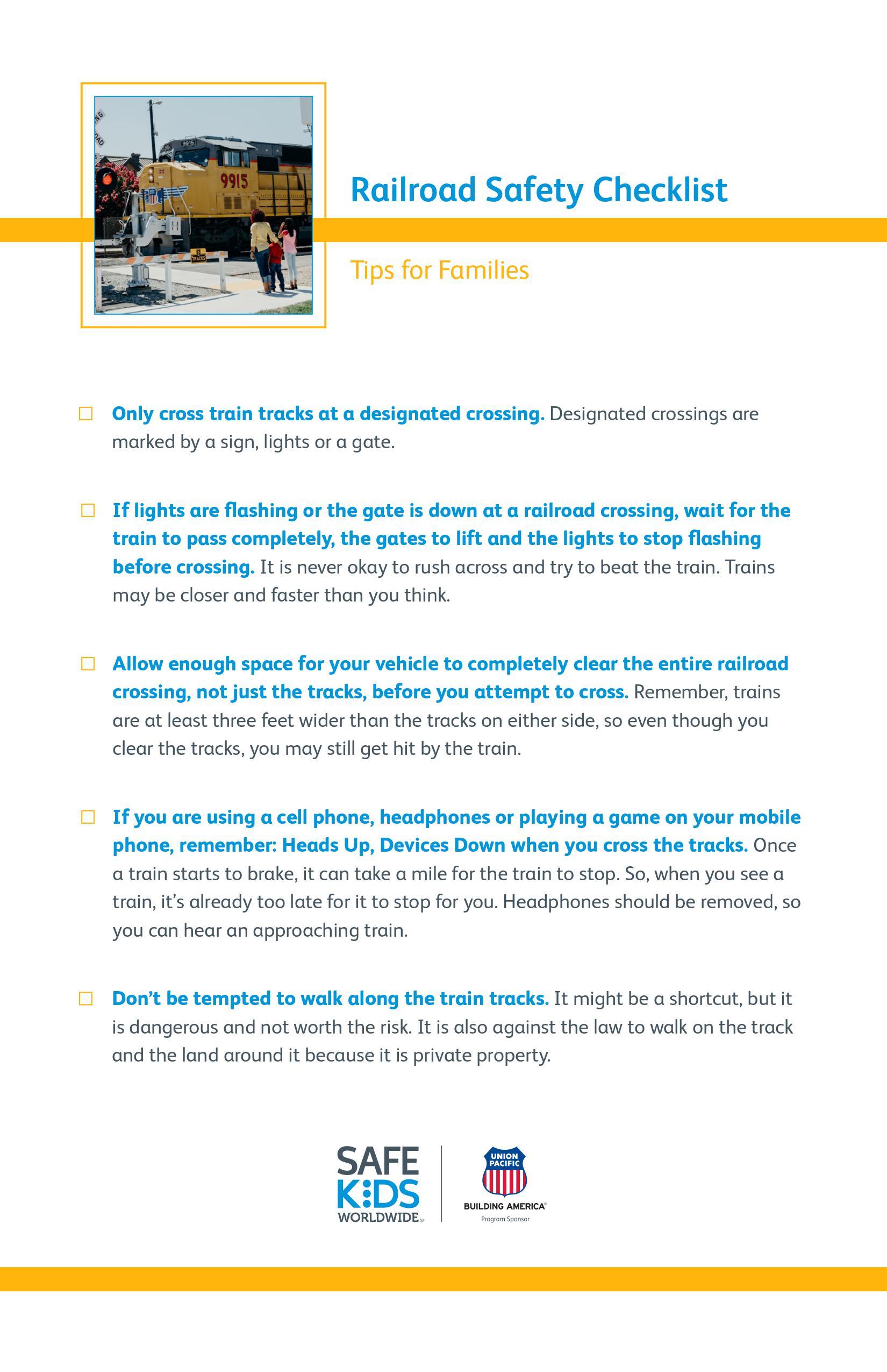 Railroad Safety Checklist
