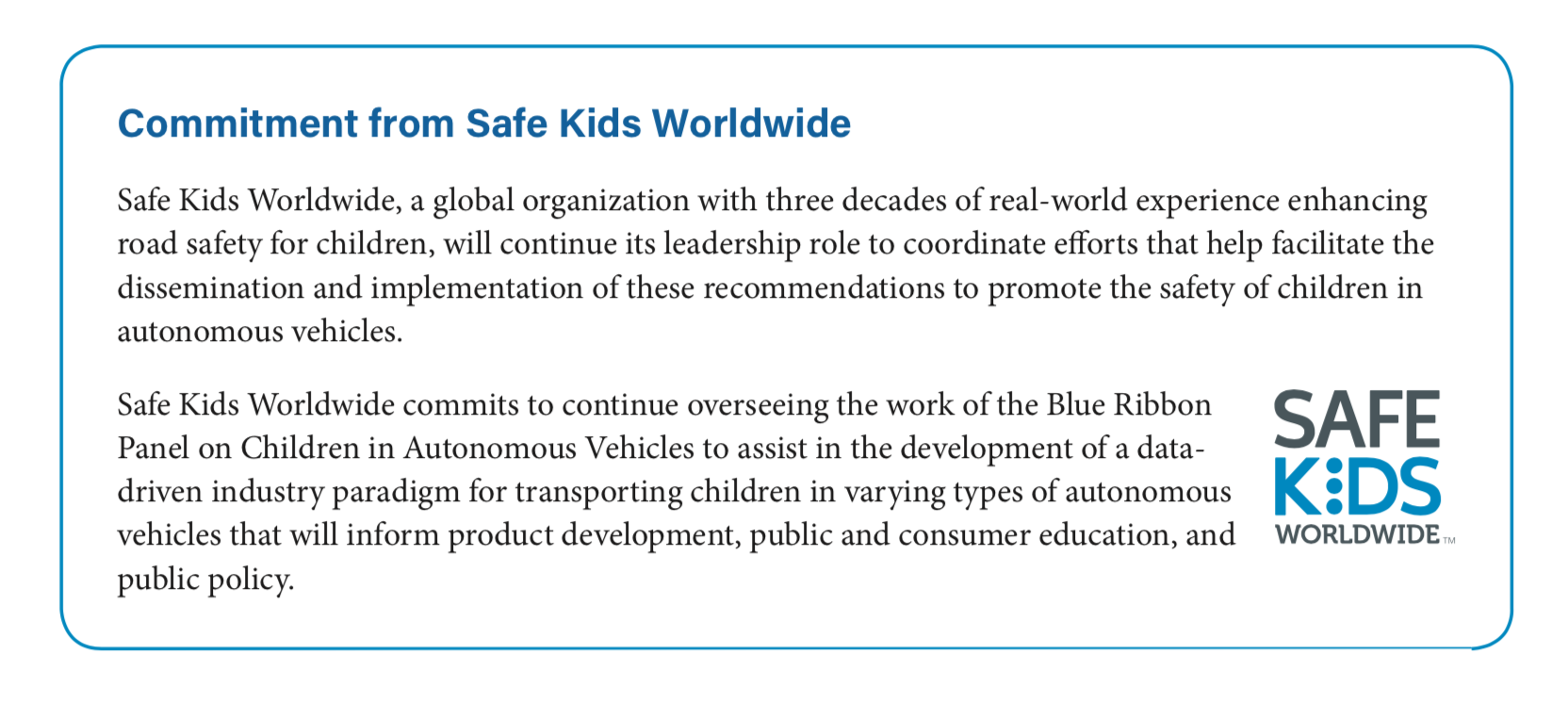 Safe Kids Worldwide Commitment to Children in Autonomous Vehicles