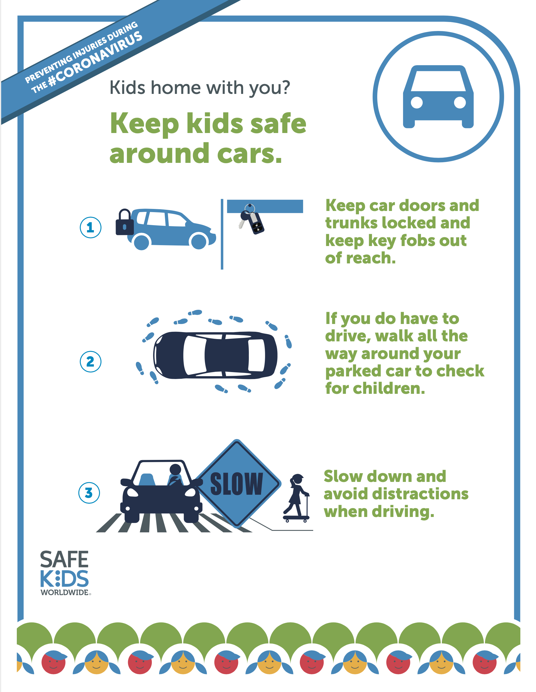 three tips to keep in mind to keep kids safe in and around cars during the coronavirus pandemic.
