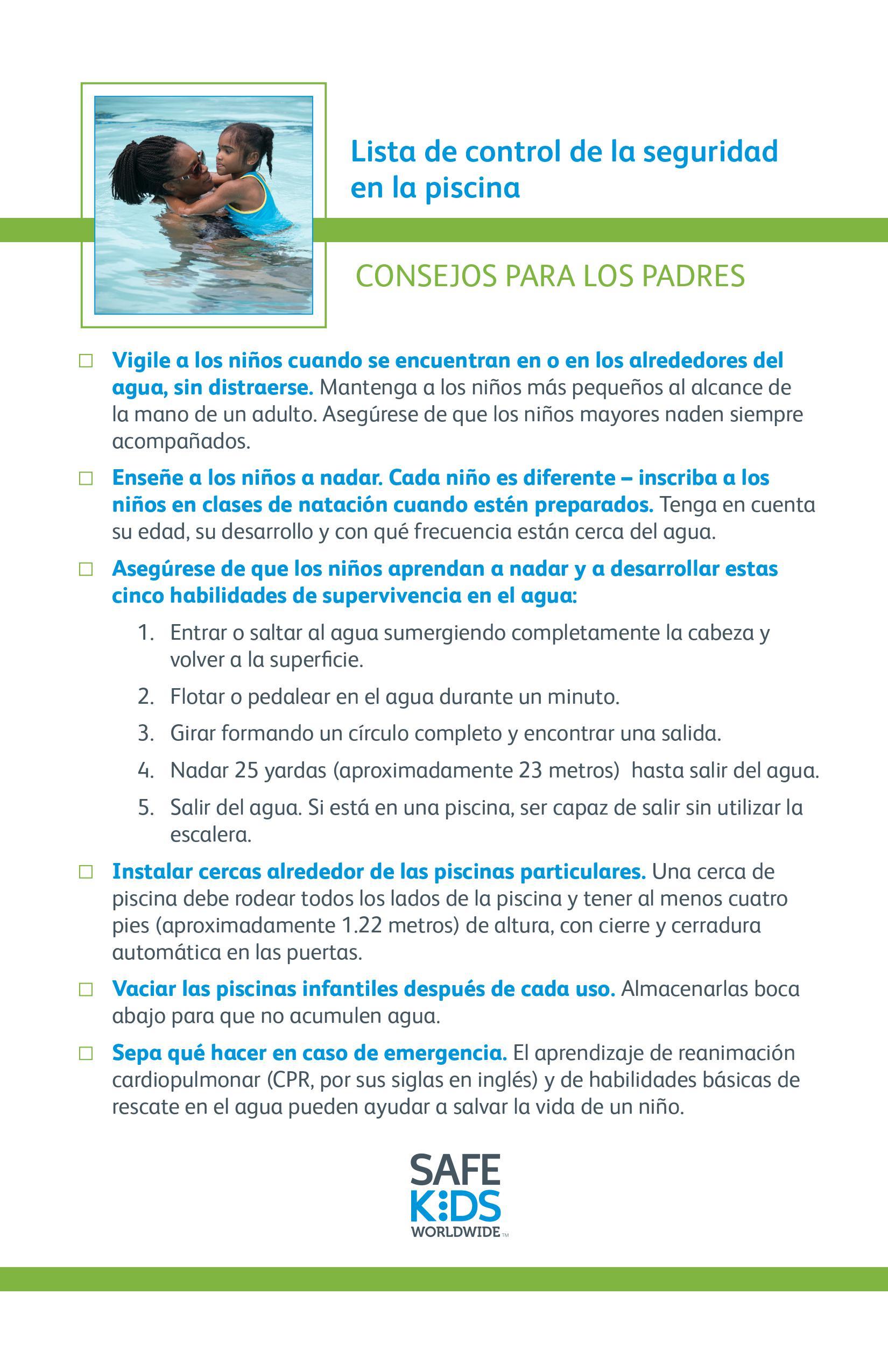 Pool Safety Checklist in Spanish