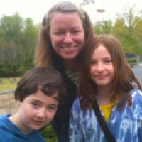 Jane Enright with her children
