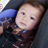 A baby in a car seat.