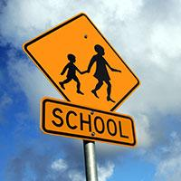 A school zone sign.