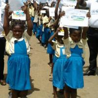 Girls in Cameroon celebrating Global Road Safety Week