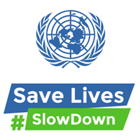 The UN logo and the slogan Safe Lives, Slow Down