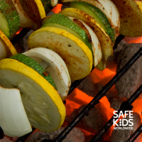 Vegetables cooking on a grill