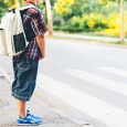 Every kids should look both ways before they crossing the street.