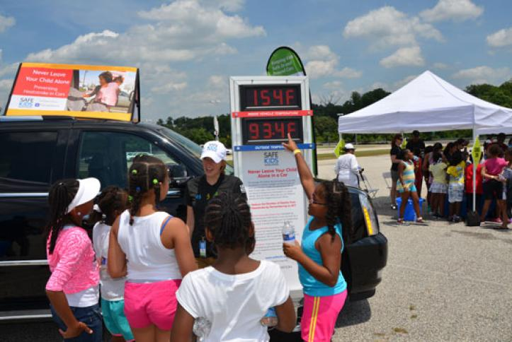 Kids learn about heatstroke safety. Never leave your child alone in a car.