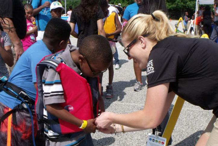 Life jacket fittings at the water safety station.