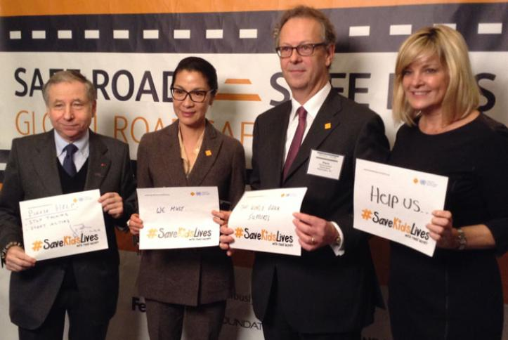 Jean Todt, Michelle Yeoh, Pierre Guislain and Kate Carr take a #safie.