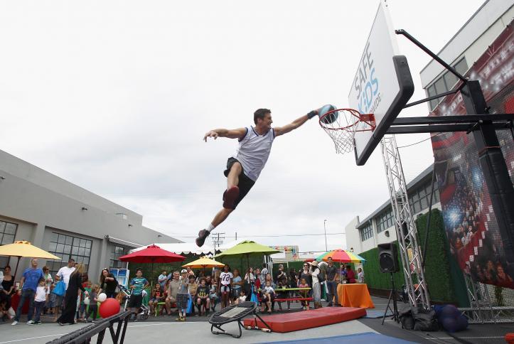 Safe Kids Day basketball acrobatics show