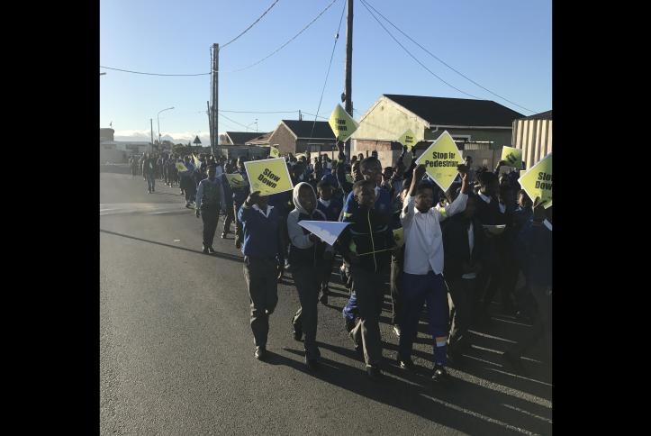 Kids in South Africa marching for Global Road Safety Week