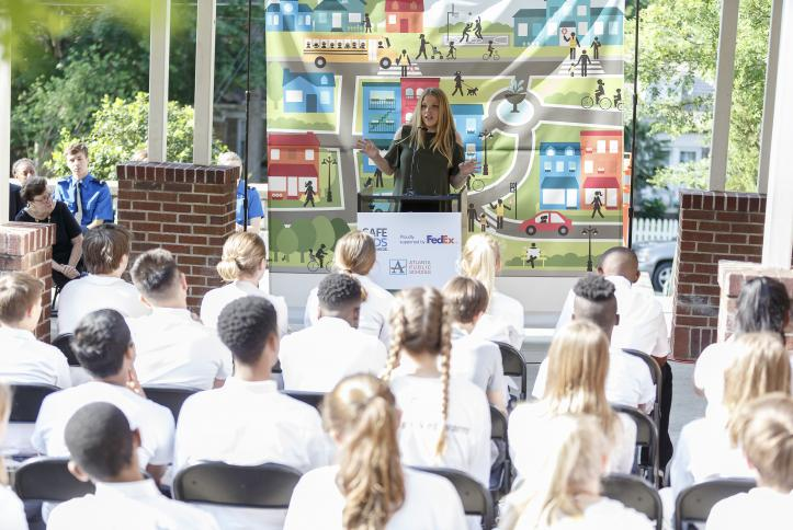 Safe Kids' Kristin Rosenthal at the Safe School Zone ribbon cutting at Inman Middle School GM Detroit Check-Up Event | Global Road Safety Week 2017