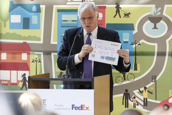 Fedex's Shane O'Connor presenting his reason to #SlowDown