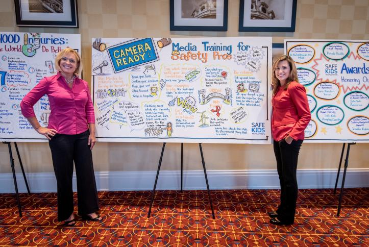 Anita Brikman & Julie Parker admire the graphic notes from their session.