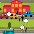 infographic images on how to make your school area better for pedestrians and more.