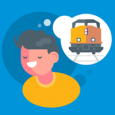 A cartoon teen thinking about train safety.